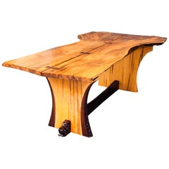 George Nakashima Inspired Figured Maple and Walnut Hand Carved Dining Table