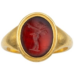 Georgian Hardstone Intaglio Ring Depicting Pan