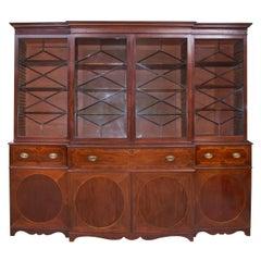 Georgian Mahogany Breakfront Secretaire Bookcase, circa 1780