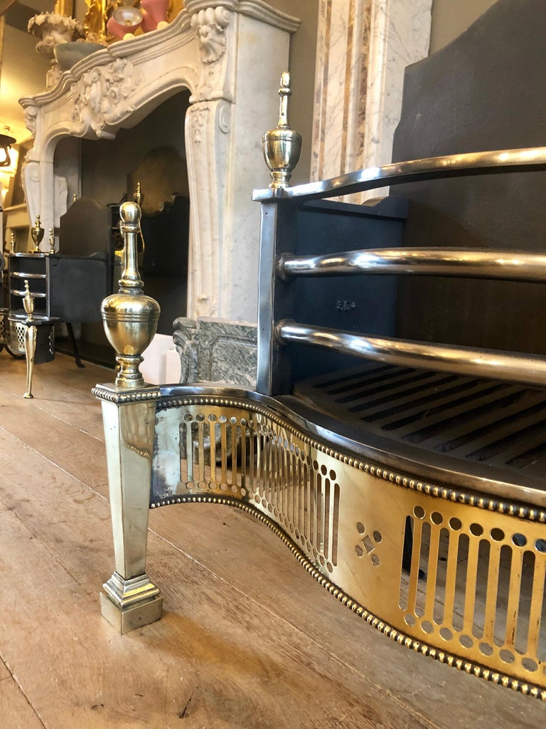 Georgian Style Steel and Brass Fire Grate For Sale 1