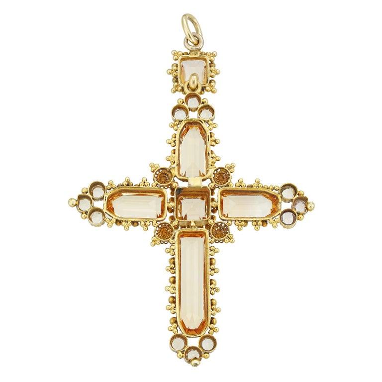 Octagon Cut Georgian Topaz Cross Pendant For Sale