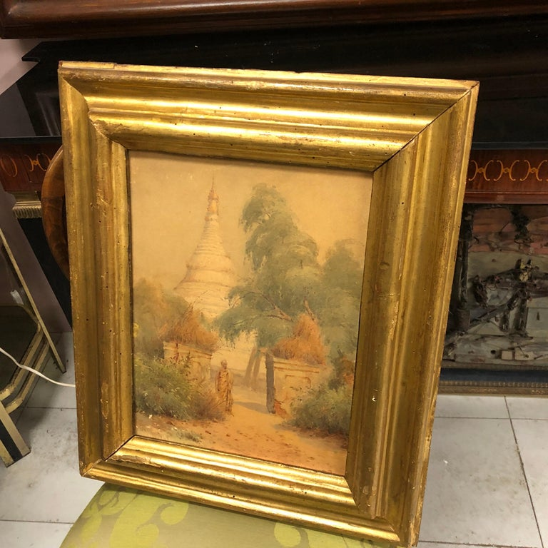 Gilded Wood Framed Orientalist Landscape Oil on Canvas, Italy, circa 1870 For Sale 5