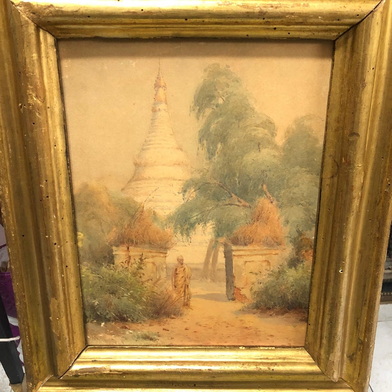 Louis Philippe Gilded Wood Framed Orientalist Landscape Oil on Canvas, Italy, circa 1870 For Sale