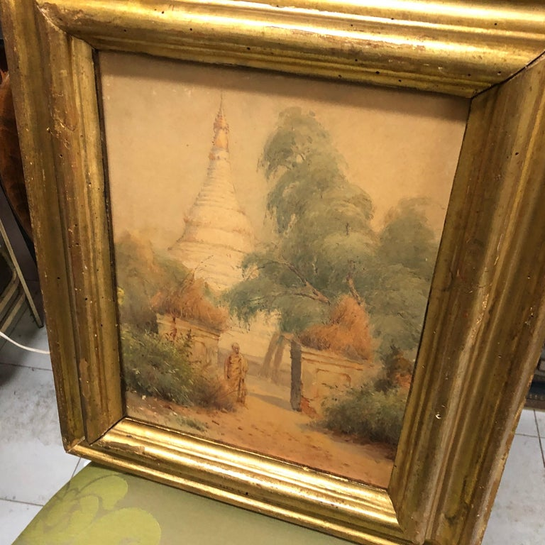 Hand-Painted Gilded Wood Framed Orientalist Landscape Oil on Canvas, Italy, circa 1870 For Sale