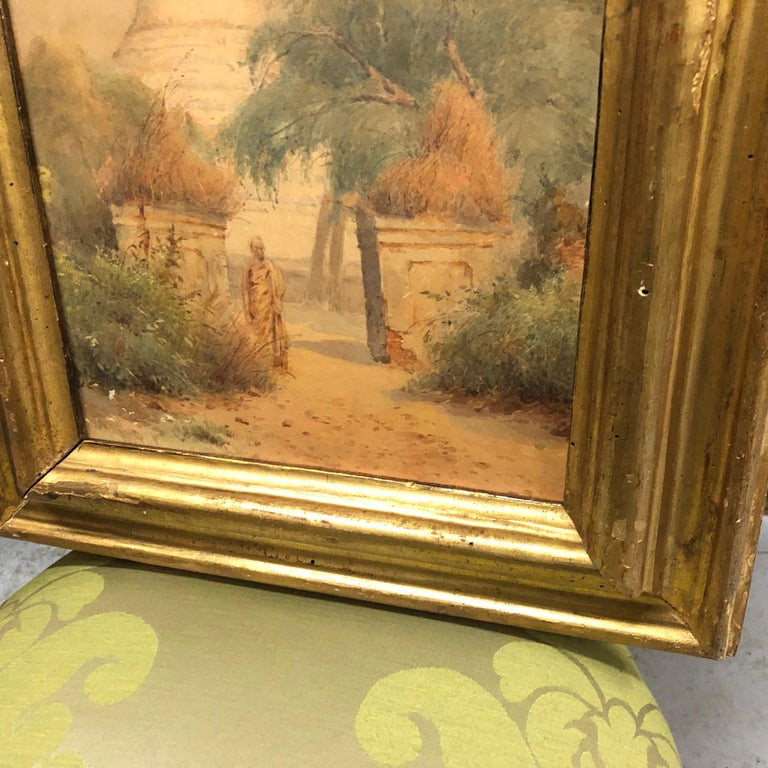 Gilded Wood Framed Orientalist Landscape Oil on Canvas, Italy, circa 1870 In Good Condition For Sale In Aci Castello, IT