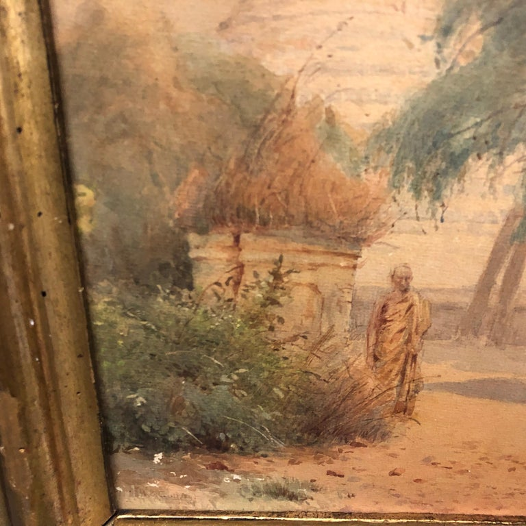 19th Century Gilded Wood Framed Orientalist Landscape Oil on Canvas, Italy, circa 1870 For Sale
