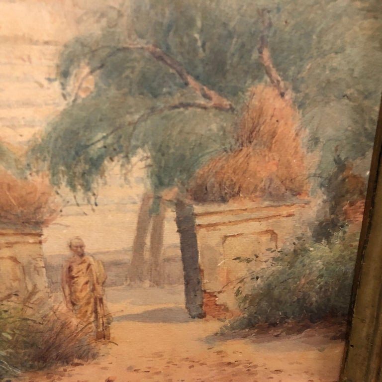 Gilded Wood Framed Orientalist Landscape Oil on Canvas, Italy, circa 1870 For Sale 1