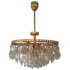 Gilt Brass Crystal Glass Drops Chandelier Germany 1960s