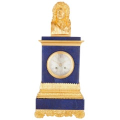 Gilt Bronze and Blue Lapis Lazuli Clock with Bust of Molière