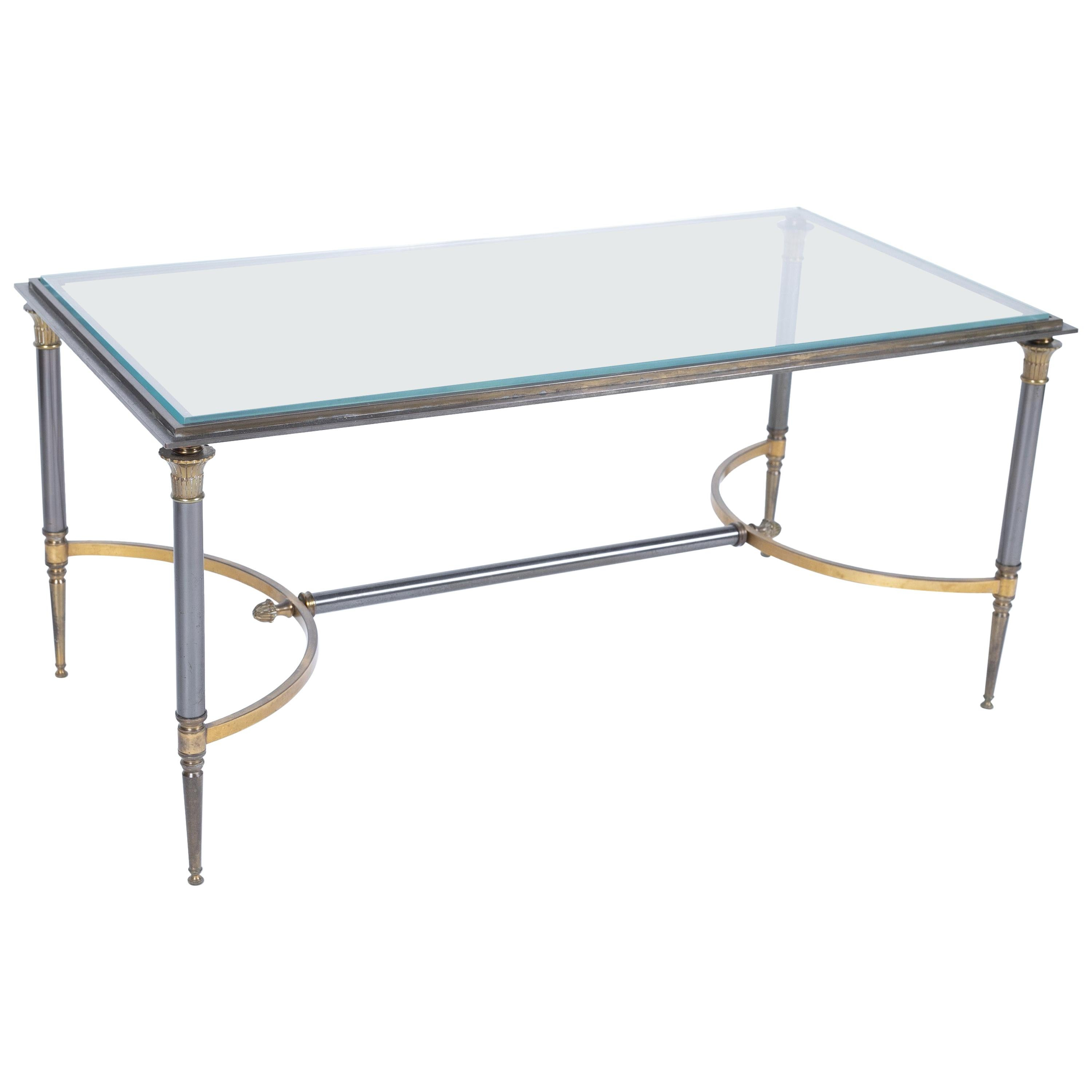 Gilt Bronze and Steel Coffee Table by Maison Charles