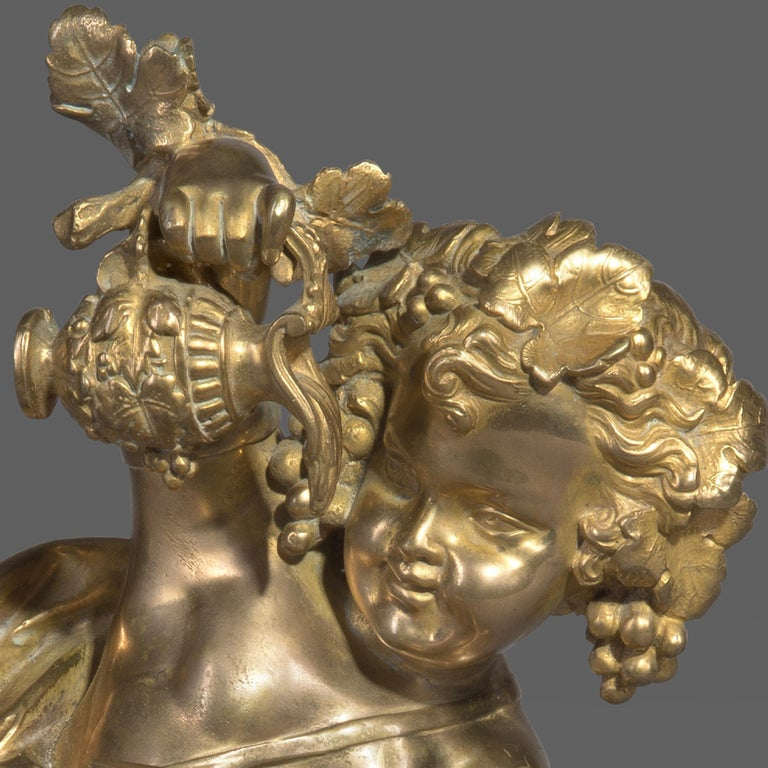 French Gilt Bronze Bacchanalian Putto Figure on a Rouge Marble Plinth, circa 1870 For Sale