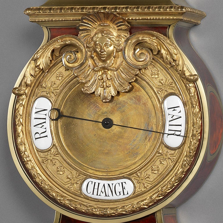 Gilt-Bronze Mounted 'Boulle' Cartel Clock and Barometer Set, circa 1890 In Good Condition For Sale In London, GB