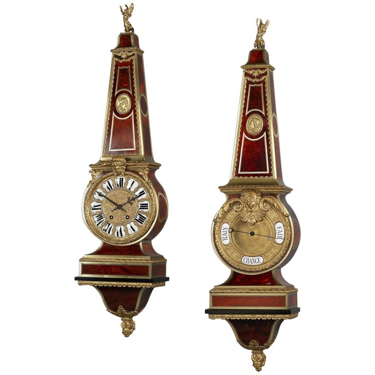Gilt-Bronze Mounted 'Boulle' Cartel Clock and Barometer Set, circa 1890 For Sale