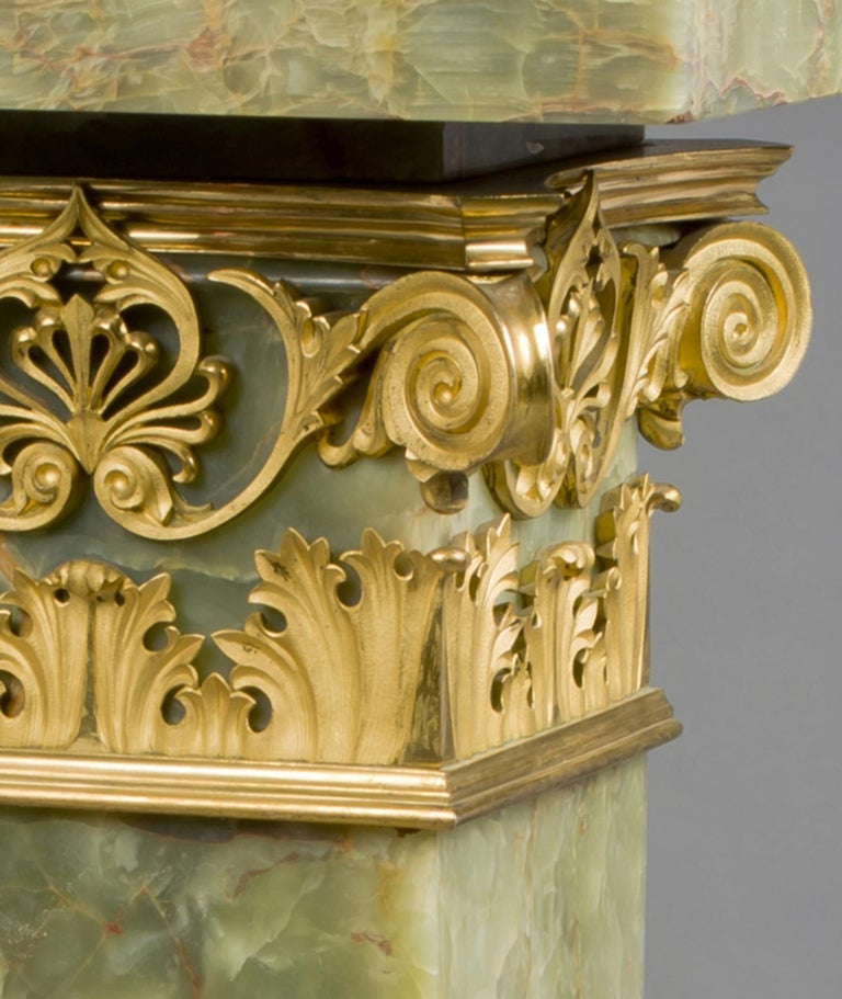 French Gilt-Bronze Mounted Dark Green Onyx Pedestal with a Revolving Top, circa 1890 For Sale