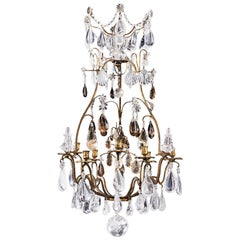 Gilt-Bronze, Rock Crystal Chandelier in Louis XV Style, 19th Century