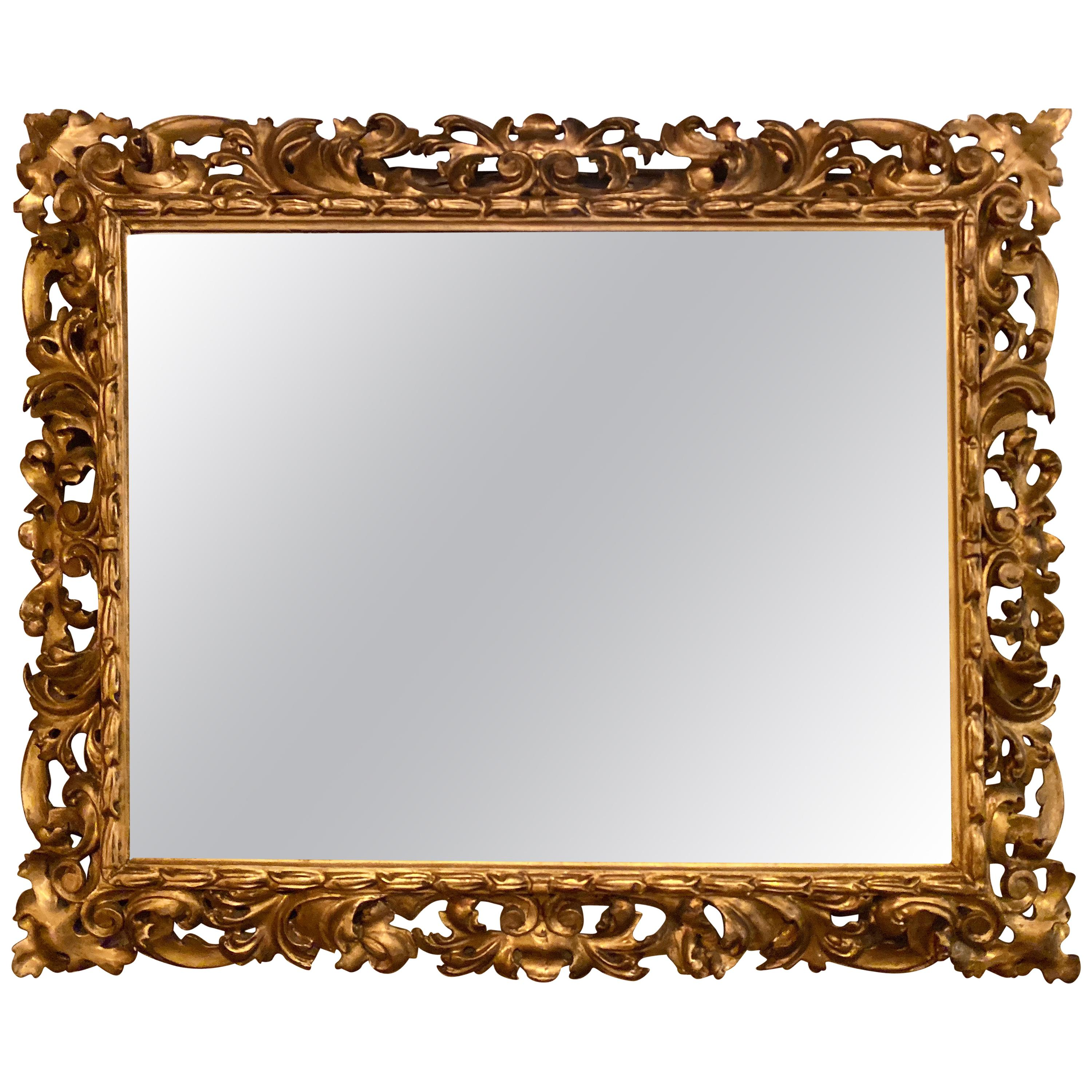 Gilt Gesso Decorated Carved Wall / Console Mirror, Italian