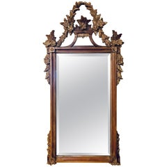 A Gilt Gold Italian Acanthus Leaf Carved Wall or Console Mirror