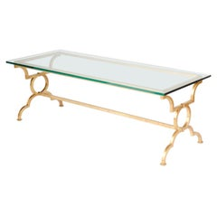 Gilt Iron Rectangular Glass Top Coffee Table, Contemporary