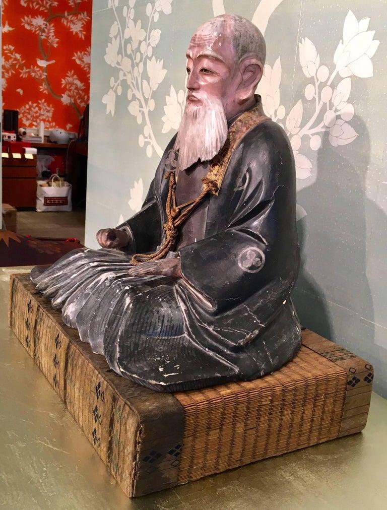 Japanese Giltwood Carved Noble Elder For Sale