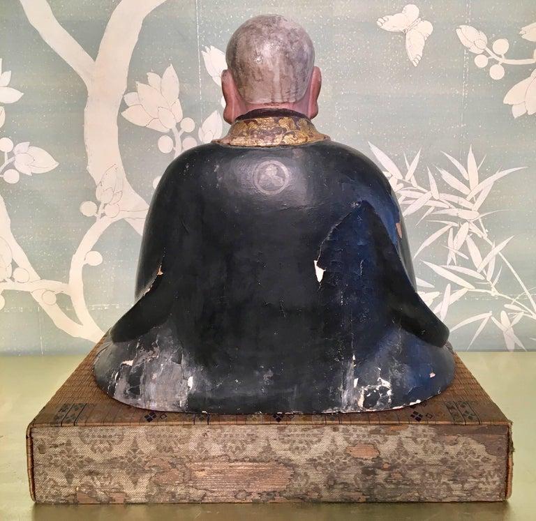 Hand-Carved Giltwood Carved Noble Elder For Sale