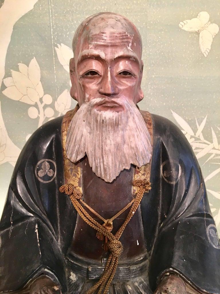 Wood Giltwood Carved Noble Elder For Sale