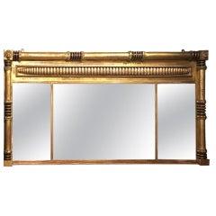 Giltwood Regency Period Triple Plate over Mantle Mirror
