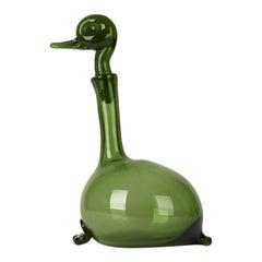A Gio Ponti Green Italian Murano Empoli Verde Green Glass Duck Wine Decanter