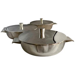 Gio Ponti Set of 3 Silver Plated Graduating Shallow Tureens for Krupp Milano