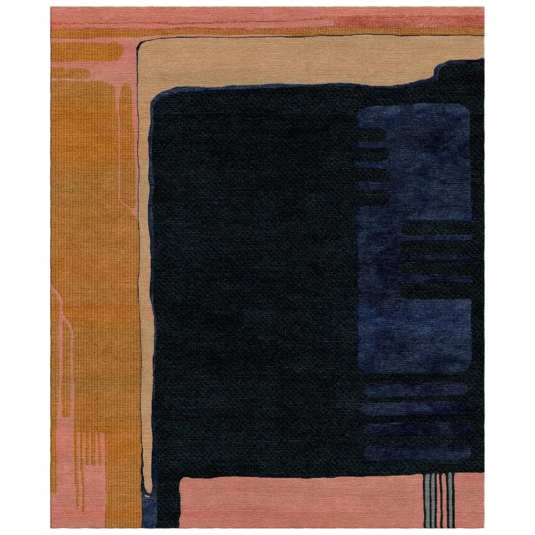 Glass for Sonia Delaunay Hand-Tufted Wool and Viscose Rug For Sale