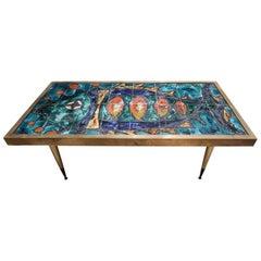 Glazed Ceramic and Brass Midcentury Italian Coffee Table by Antonini, 1960