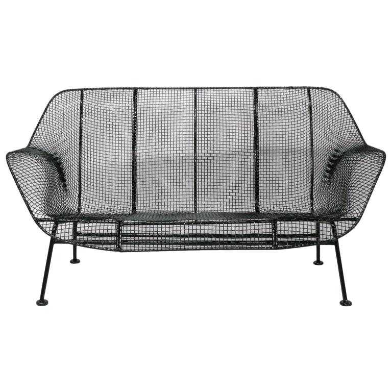 Gloss Black Wrought Iron and Mesh Steel Settee by Russell Lee Woodard Co.