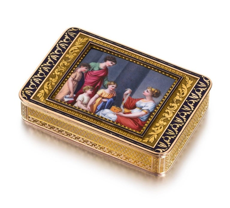A gold and enamel snuff box  Hanau, circa 1805  rectangular with rounded corners, the lid inset with an enamel plaque painted with Cornelia and her jewels, within a chased leafy border on a sablé ground, framed by a dark blue taille d'épargne