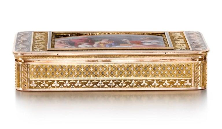Gold and Enamel Snuff Box, Hanau, circa 1805 For Sale 1