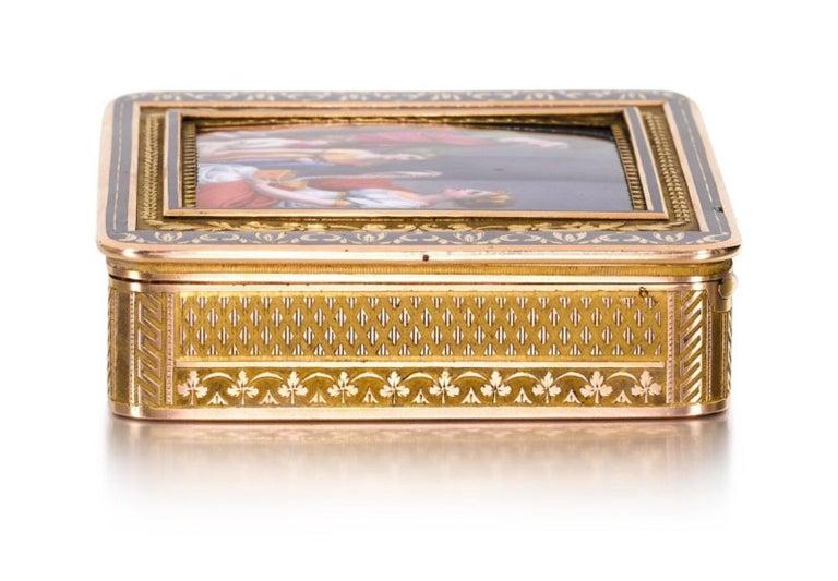 Gold and Enamel Snuff Box, Hanau, circa 1805 For Sale 2