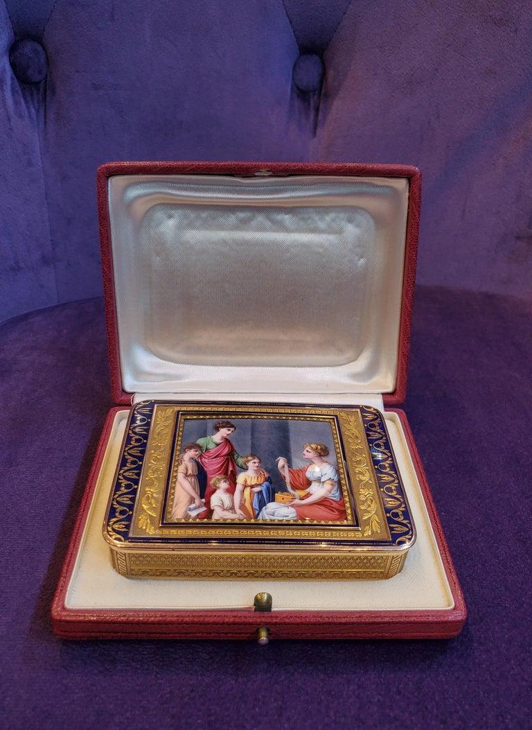 Gold and Enamel Snuff Box, Hanau, circa 1805 For Sale 3