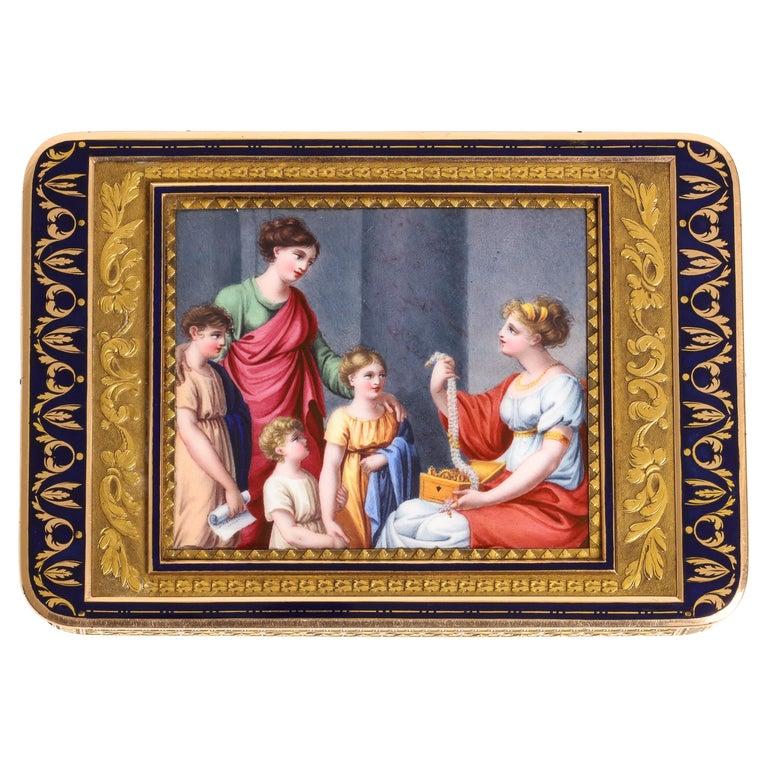 Gold and Enamel Snuff Box, Hanau, circa 1805 For Sale