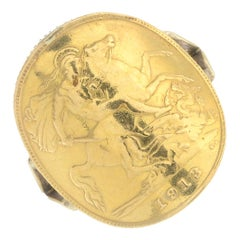 1913 Gold Sovereign King George V London Ring