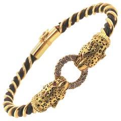 French 1970s Twin Leopard Heads Diamond Gold Elephant Hair Enamel Bracelet