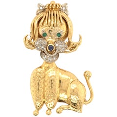Gold, Diamond, Emerald and Sapphire Poodle Brooch