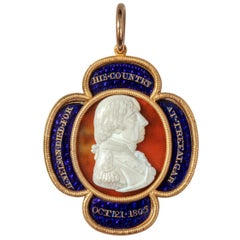 Gold, Enamel and Cameo Commemorative Pendant by William Tassie, 1805