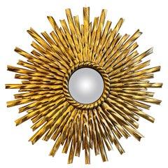 Gold Gilt Sunburst Convex Mirror