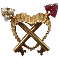 Gold, Pearl and Ruby Key to My Heart Brooch