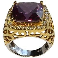 Gold-Plated Silver Ring Set with Cultured Color Change and White Sapphire