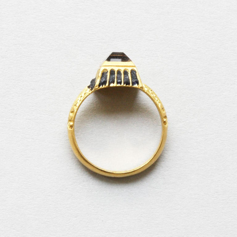 Women's or Men's Gold Renaissance Ring with a Table Cut Rock Crystal