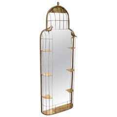 Golden Metal Birds Modern English Wall Mirror, 1990