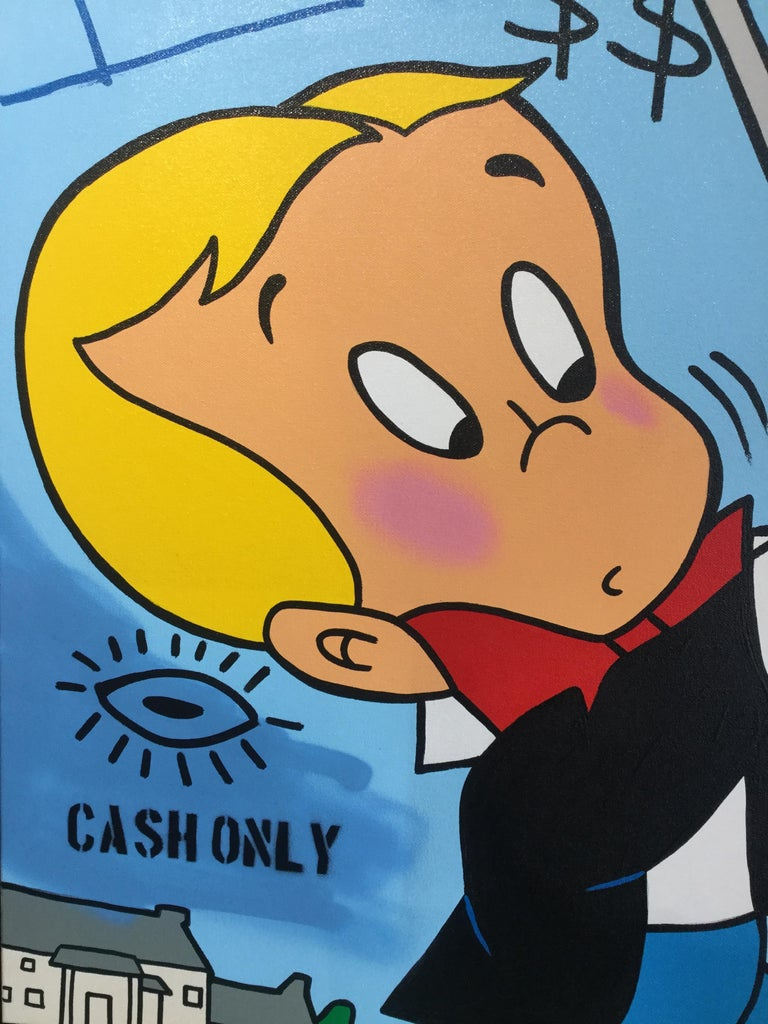 A. Gomez, Richie Rich Goes Golfing - Street Art Painting by A. Gomez