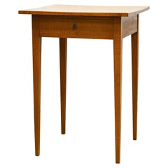 Good Early Federal Shaker Tradition Tiger Maple One Drawer Work Table