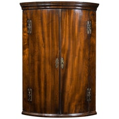 Good George III Period Mahogany Bow Fronted Corner Cupboard