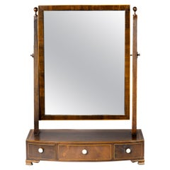 Good George III Period Mahogany Bow Fronted Toilet Mirror