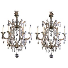 Good Pair of Continental Maria Theresa Basket-Form Glass & Crystal Chandeliers